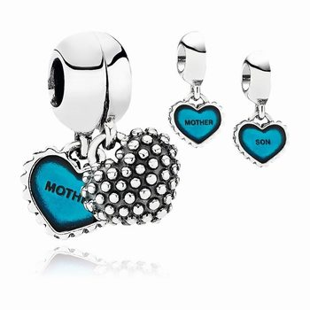 Pandora Piece Of My Heart, Son, Two-Part Dangle Charm, Turquoise
