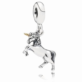 Unicorn Silver and Gold Hanging Charm - PANDORA 791200