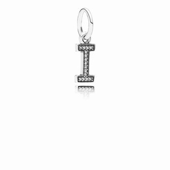 Letter I Dangle Charm, Clear CZ 791321CZ